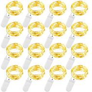 abordables -2m guirlande lumineuse extérieure 20 leds 12pcs blanc chaud blanc bleu étanche pour la décoration de fête de cadeau de noël guirlande lumineuse piles