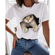 cheap -Women's 3D Cat T shirt Cat Graphic 3D Print Round Neck Tops 100% Cotton Basic Basic Top White Black