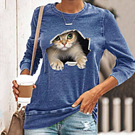 cheap -Women's T shirt Cat Graphic 3D Long Sleeve Print Round Neck Tops Basic Basic Top Black Blue Yellow