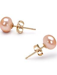 cheap -Pink Pearl Stud Earrings Birthstones Gold Earrings Jewelry For