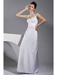 cheap -Sheath/ Column Halter Floor-length Satin Bridesmaid/ Wedding Party Dress