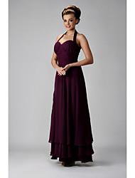 cheap -Sheath / Column Formal Evening Military Ball Dress Halter Neck Sweetheart Neckline Sleeveless Floor Length Chiffon with Ruched Ruffles Side Draping 2021