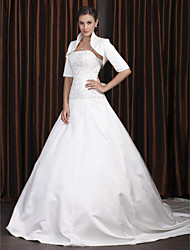 cheap -A-Line Square Neck Cathedral Train Satin Half Sleeve Vintage Separate Bodies Wedding Dresses with Beading / Appliques 2020 / Yes