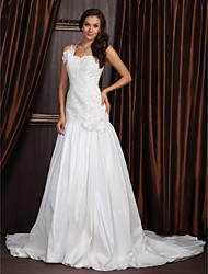 cheap -Princess A-Line Wedding Dresses One Shoulder Sweetheart Neckline Court Train Taffeta Sleeveless with 2021