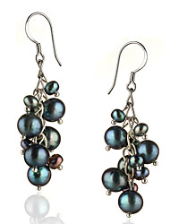 cheap -Women's Black Pearl Drop Earrings Sterling Silver Silver Earrings Jewelry For 1pc
