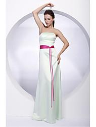 cheap -Sheath / Column Strapless Floor Length Satin Bridesmaid Dress with Sash / Ribbon