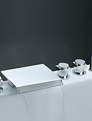 cheap -Bathtub Faucet - Contemporary Chrome Roman Tub Ceramic Valve Bath Shower Mixer Taps / Brass / Three Handles Five Holes