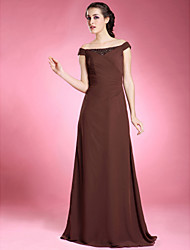 cheap -A-Line Mother of the Bride Dress Off Shoulder Floor Length Chiffon Short Sleeve with Beading Side Draping 2021