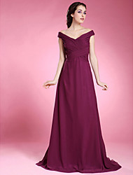cheap -Clearance!A-line Off-the-shoulder Short Sleeve Floor-length Chiffon Mother of the Bride Dress