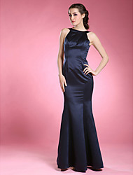 cheap -Mermaid / Trumpet Jewel Neck Floor Length Satin Mother of the Bride Dress with Pleats by LAN TING BRIDE®