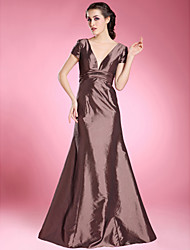 cheap -A-Line Formal Evening Wedding Party Dress V Neck Short Sleeve Floor Length Stretch Satin with Ruched 2021