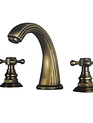 cheap -Bathroom Sink Faucet - Widespread Antique Brass Widespread Two Handles Three HolesBath Taps