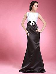 cheap -Mermaid / Trumpet Mother of the Bride Dress Bateau Neck Floor Length Satin Sleeveless with Bow(s) Side Draping 2021