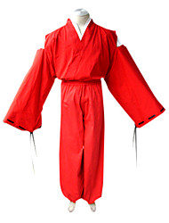 cheap -Inspired by InuYasha Inu Yasha Anime Cosplay Costumes Japanese Cosplay Suits / Kimono Solid Colored Long Sleeve Top / Kimono Coat / Hakama pants For Men's