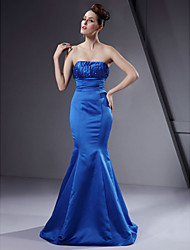 cheap -Mermaid / Trumpet Strapless Floor Length Satin Bridesmaid Dress with Beading / Draping