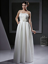 cheap -Princess A-Line Wedding Dresses Strapless Floor Length Satin Sleeveless with 2020
