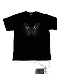 billige -LED-T-shirts Lydaktiverede LED-lys Tekstil Originale 2 AAA Batterier