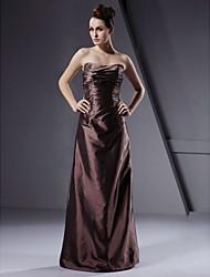 cheap -Princess / A-Line / Sheath / Column Strapless Floor Length Taffeta Bridesmaid Dress with Ruched