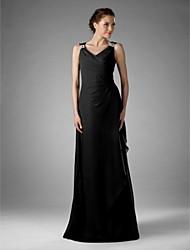 cheap -Sheath / Column Mother of the Bride Dress Little Black Dress V Neck Floor Length Chiffon Sleeveless with Criss Cross Beading 2020