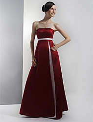 cheap -A-Line Strapless Floor Length Satin Bridesmaid Dress with Sash / Ribbon / Split Front by LAN TING BRIDE® / Color Block