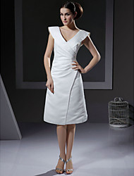 cheap -A-Line / Princess V Neck Knee Length Satin Made-To-Measure Wedding Dresses with Ruched by LAN TING BRIDE®