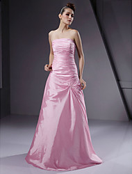 cheap -A-Line / Ball Gown Strapless Floor Length Taffeta Bridesmaid Dress with Beading / Side Draping