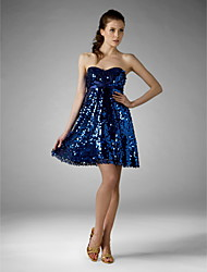 cheap -A-Line Princess Fit & Flare Strapless Sweetheart Short / Mini Sequined Cocktail Party Homecoming Holiday Sweet 16 Dress with Sequin Bow(s)