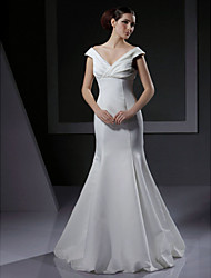 cheap -Mermaid / Trumpet Wedding Dresses V Neck Floor Length Satin Short Sleeve with Criss-Cross 2020