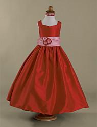 cheap -A-Line Floor Length Flower Girl Dresses Wedding Party Taffeta Sleeveless Straps with Bow(s) / Fall / Winter / Spring / Summer / Apple