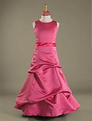 cheap -A-Line / Princess Jewel Neck Floor Length Satin Junior Bridesmaid Dress with Pick Up Skirt / Sash / Ribbon / Spring / Fall / Winter / Apple / Hourglass