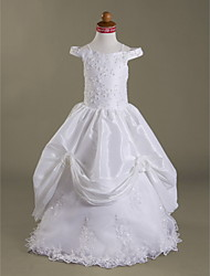 cheap -Ball Gown Floor Length Wedding / First Communion Flower Girl Dresses - Lace / Taffeta Sleeveless Off Shoulder / Spaghetti Strap with Beading / Spring / Summer / Fall / Winter