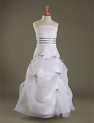 cheap -A-Line Spaghetti Strap Floor Length Organza / Satin Junior Bridesmaid Dress with Bow(s) / Pick Up Skirt / Sash / Ribbon