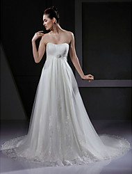 cheap -A-Line Wedding Dresses Sweetheart Neckline Court Train Tulle Strapless with Draping Appliques Flower 2020