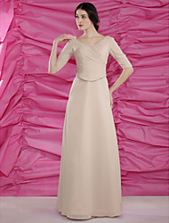 cheap -A-Line Mother of the Bride Dress V Neck Floor Length Chiffon Half Sleeve with Beading Side Draping 2021