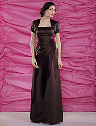 cheap -Sheath / Column Mother of the Bride Dress Wrap Included Sweetheart Neckline Strapless Floor Length Satin Short Sleeve with Beading Side Draping 2021