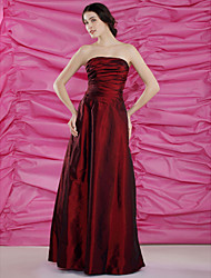cheap -Sheath / Column Mother of the Bride Dress Strapless Floor Length Taffeta Sleeveless with Ruched Side Draping 2020