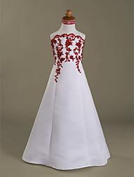 cheap -Princess Floor Length Flower Girl Dresses Wedding Party Satin Sleeveless Scalloped Neckline with Beading / Fall / Winter / Spring / Summer / Apple