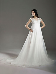cheap -A-Line Wedding Dresses V Neck Court Train Lace Organza Regular Straps See-Through with Lace Beading 2021