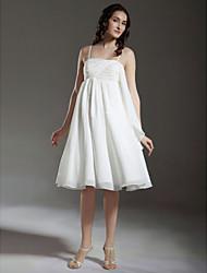 billige -Prinsesse A-linje Brudekjoler Spaghettistropper Knælang Chiffon Uden ærmer Små Hvide Kjoler med 2020