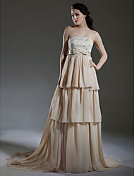cheap -A-line Empire Strapless Court Train Satin Chiffon Tiered Wedding Dress