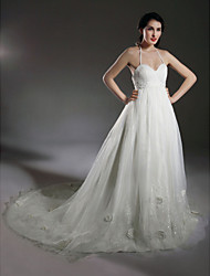 cheap -A-line Halter Court Train Taffeta Wedding Dress With Beaded Appliques