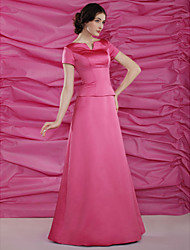 cheap -A-Line Mother of the Bride Dress Bateau Neck Notched Floor Length Satin Short Sleeve with Beading 2021