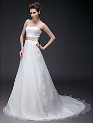 cheap -Princess A-Line Wedding Dresses Strapless Sweetheart Neckline Court Train Organza Satin Sleeveless with 2020