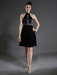 cheap -Ball Gown Little Black Dress Celebrity Style All Celebrity Styles Holiday Homecoming Cocktail Party Dress High Neck Sleeveless Knee Length Chiffon Stretch Satin with Pleats Beading 2021