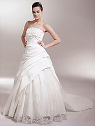 cheap -A-line/Princess Strapless Chapel Train Satin Luxury Wedding Dress With Beaded Lace Appliques