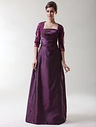 cheap -Sheath / Column Mother of the Bride Dress Strapless Floor Length Taffeta 3/4 Length Sleeve with Appliques 2021