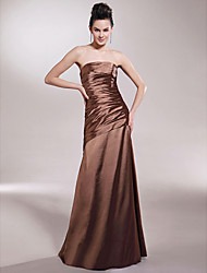 cheap -Princess / A-Line Strapless Floor Length Stretch Satin Bridesmaid Dress with Side Draping