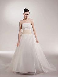 cheap -Princess Ball Gown A-Line Wedding Dresses Strapless Scalloped-Edge Chapel Train Organza Satin Sleeveless with 2021