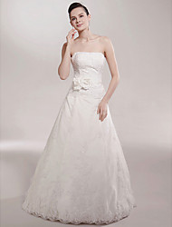 cheap -Princess A-Line Wedding Dresses Strapless Sweep / Brush Train Satin Sleeveless with 2020