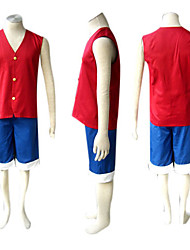 cheap -Inspired by One Piece Monkey D. Luffy Anime Cosplay Costumes Japanese Cosplay Suits Patchwork Sleeveless Vest Shorts For Men's